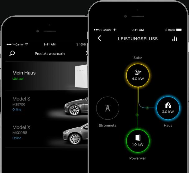 Die Tesla Powerwall lässt sich per App überwachen